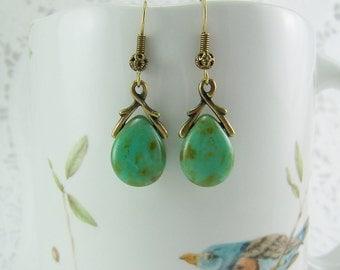 Picasso Earrings, Turquoise Earrings, Czech Glass Teardrops, Turquoise Picasso Glass, Turquoise Green Czech Glass Earrings, Picasso Glass