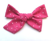 Big Hair Bows/One Size Fits All/Valentine's Day Bows/Pink Polka Dot Bows/Little Girl's Bows