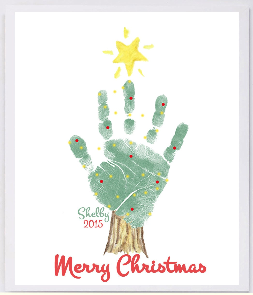 Handprint Christmas Tree grandma and grandpa christmas gift