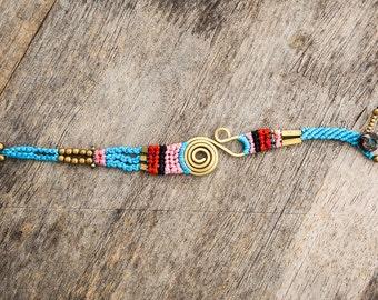 Simple Turquoise Macrame Funky Festival Bracelet