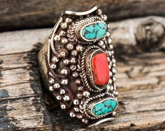Tibetan Turquoise Folk Ring Tibetan Tribal Southwestern Ring