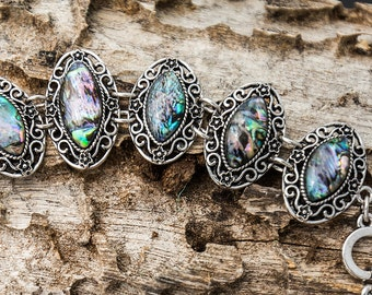 Vibrant Colorful Abalone Shell Bracelet