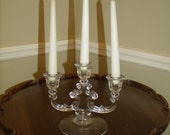 Vintage Cambridge Glass Triple Candlestick Art Deco  3 light  Glass Crystal Candle Holder