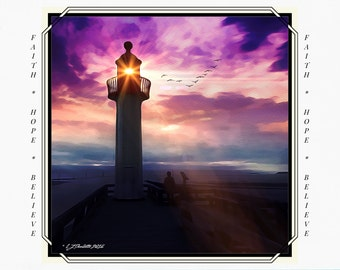 Greeting Cards for Breast Cancer Patients & Survivors, Card for Cancer Patient, Cancer Support, lighthouse painting, digital art, iPad art