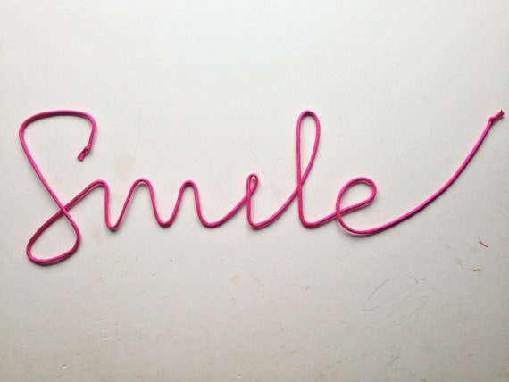 Lace Sign Smile soft cursive wire wall word