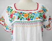 Embroidered Mexican Blouse Cotton Top In White Boho Blouse Hippie Top