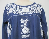 Mexican Embroidered Long Sleeve Blouse Cotton Top In Blue Boho Blouse Hippie Top