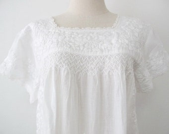 Mexican Embroidered Blouse Cotton Top In White, Boho Blouse, Hippie Top