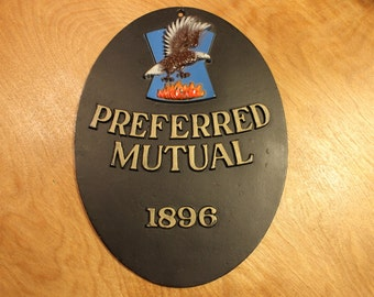 Preferred Mutual Insurance Sign | Firemark Cast Metal Reproduction