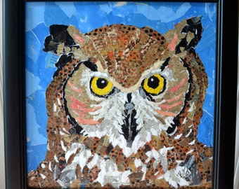 Owl Paper Painted Collage -Torn Paper- Framed Collage Art-  Wildlife Art-  Mixed Media - Original Owl Painting  - Pam George - Wildlife