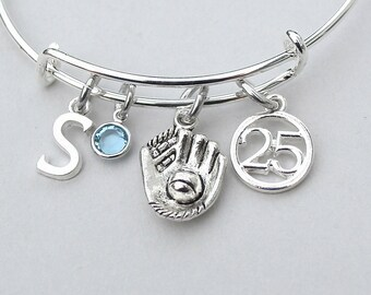 Softball Charm Bangle, Baseball Charm Bracelet, Personalized Initial, Monogram, Choose Jersey Number, Gift For Her, Team Gift, 177