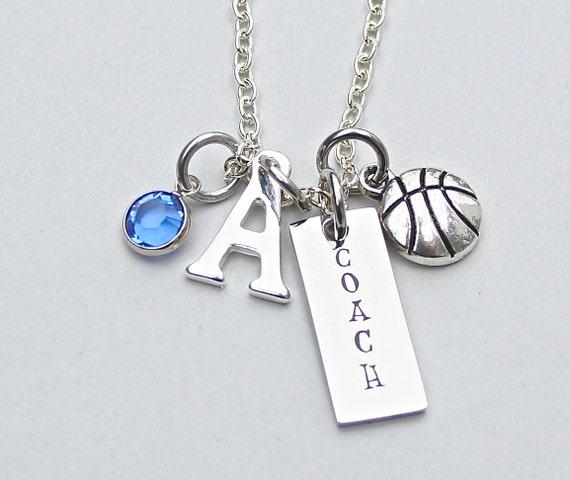 Basketball Charm Bracelet: Basketball Coach Necklace Charm Necklace Personalize