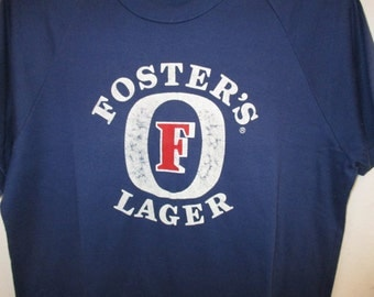 Vintage 80s Foster's Lager T Shirt Famous in Australia Famous All Around the World Sz L