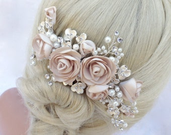 Pearl And Crystal Bridal Hair Comb, Wedding Hair Comb, Blush Champagne Flower Hair Comb, Bridal Headpiece, Bridal Hairpiece, COLOR CHOICES