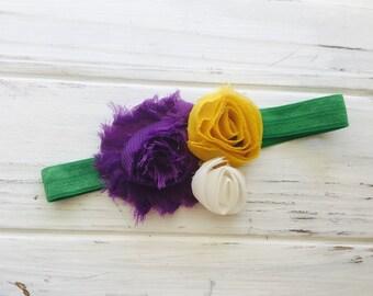 Baby headband, mardi gras headband, flower headband