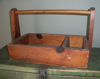Antique Wooden Tote Toolbox Rustic Primitive Handmade Carrying Handle