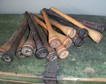 Set of 19 Antique Wooden Spools Bobbins