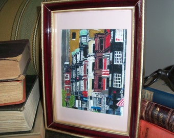 Framed Newbury Street Boston Downtown City Framed Print Artwork Brownstones