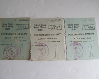 1955 United States Postal Money Order Receipts Newport NH Post Office Postal Memorabilia Postal Paper Ephemera Scrapbooking Supplies History