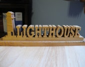 Lighthouse Hand Cut Wood Sign