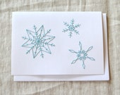Snowflake Christmas Card - Embroidered Holiday Card