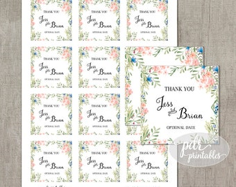 Watercolor Wedding Favor Tags, Bridal Shower Thank You Stickers, Printable ThankYou Labels, DIY Party Water Color Printables WC