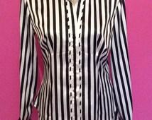 Striped satin pinstriped 80's shirt / blouse