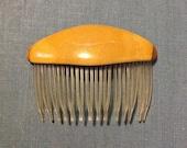 Lucite 3 inch hair comb golden pumpkin mustard yellow retro decorative clip accessory