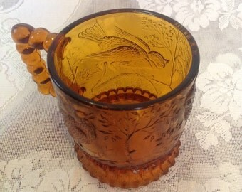 Amber glass small embossed bird cup mug with beaded handle romantic cottage chic serving serveware home decor