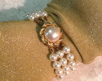 Triple three 3 strand faux pearl bracelet with gold tone metal clasp summer bride bridal wedding retro romantic chic costume jewelry