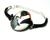 Black white penguin bracelet, hand painted rocks animal family