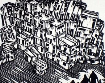 Contemporary art original black and white linoprint  'Modern Family'