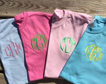 Monogram t-shirt, monogrammed shirt, monogrammed gift, youth childrens