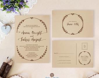 Wreath Wedding Invitation Kits Printed On Brown Paper | Cheap Rustic Wedding  Invitation Cards