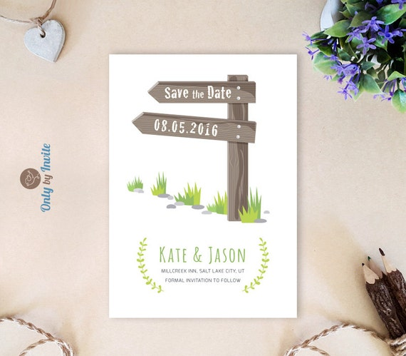 destination wedding save the date cards printed forest woodsy road