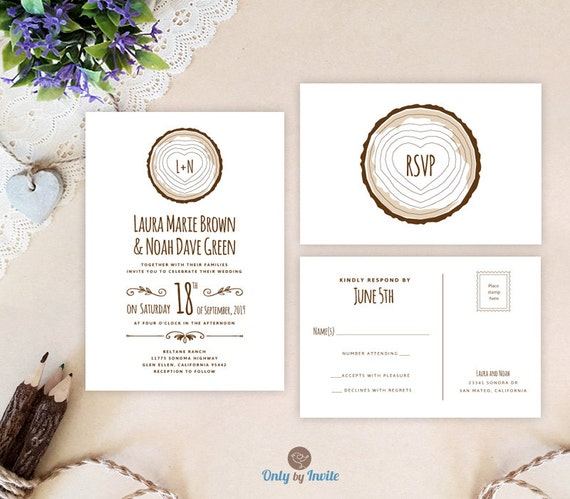 tree stump wedding invitation kits printed rustic forest With tree stump wedding invitations