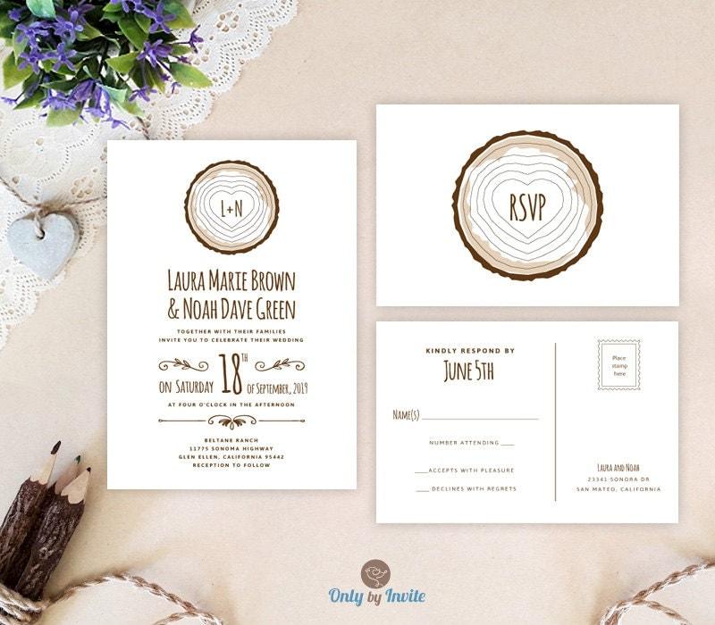 Cheap Rustic Wedding Invitation Kits: Tree Stump Wedding Invitation Kits Printed Rustic Forest