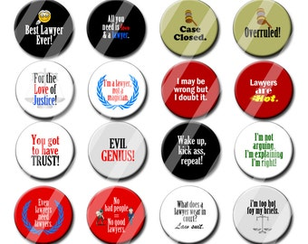 Lawyer Theme Party Favors set of  1.25 inch Pin back Legal Theme, Attorney Theme, Law Theme