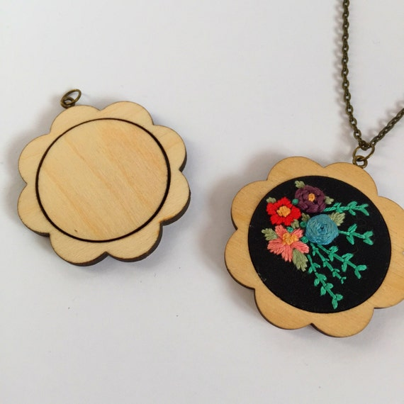 Flower Mini Embroidery Hoop Blank Pendant Necklace Kit