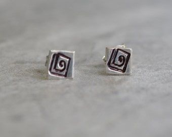 Greek Key Stud Earrings Reclaimed Sterling Silver Hand Stamped Sterling Silver Posts Eco Friendly Devotion Love and Friendship Jewelry