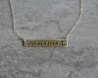 Personalized Sterling Silver Bar Necklace Eco Friendly Reclaimed Silver Bar Necklace Custom Jewelry  Perfect Gift Hand Stamped