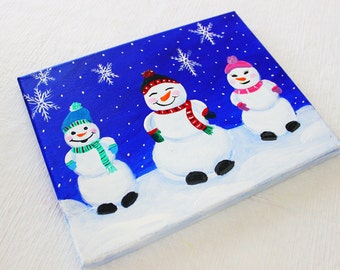 Snowman Painting on Canvas, Snowman Art, Christmas Painting 10x8 ORIGINAL