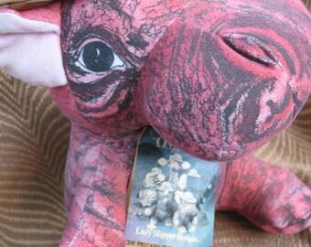 Vintage 1986 Lady Slipper Designs Stuffed Plush Hippo