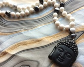 Black and White Mala Necklace with Black Buddha Pendant