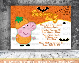 George Pig  HALLOWEEN Invitation Printable Party Peppa Pig