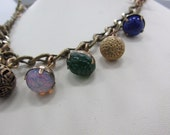 Reserved for B - 1980's Grandmother's Buttons Necklace - Multi Antique Buttons, Gold Tone Bead - Vintage - Stunning!
