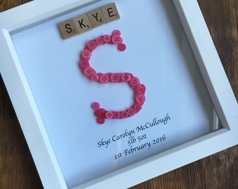 Inital Button Picture Frame with Scrabble Tile Name
