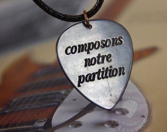 French quotes, composons notre partition -  French vintage,  guitar pick jewelry - guitare plectre bijoux