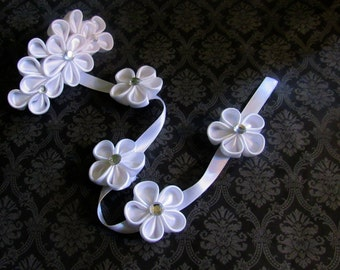 White Kanzashi Flower Braid Barrette