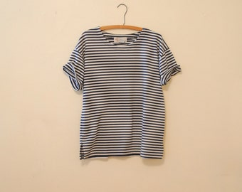Oversized Navy and White Striped Tee Shirt - 1980s